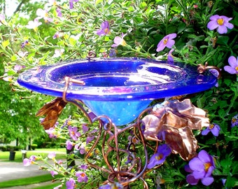 GET WELL gift, Bird Feeder, Butterfly Feeder, Garden Art, Outdoor, stained glass, copper, Cobalt Blue, 18K Gold