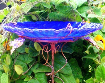"WEDDING Garden Gift, Garden BIRD BATH, 8.25"" diameter, Bird Feeder, stained glass, fused glass, copper art, Cobalt Blue, Suncatcher"