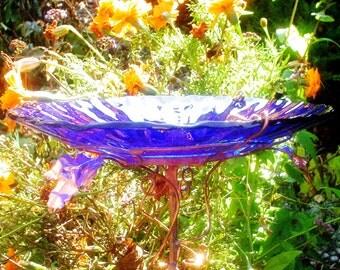 """Cobalt Blue BIRD BATH,  Bird Feeder, stained glass, 8.25"""" diameter, 14 karat gold, fused glass, copper art, Garden Art, Home Decor"""