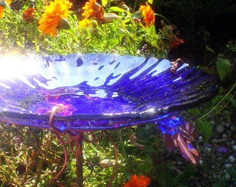 "Cobalt Blue BIRD BATH, 14K Gold, stained glass, 8.25"" diameter, fused glass, copper art, Garden Art, Home Decor"