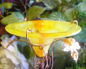 Garden Stake,  BUTTERFLY FEEDER, stained glass, copper, Neon Orange and Yellow