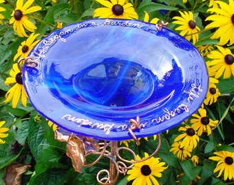 "BUTTERFLY FEEDER, 14K Gold, Cobalt Blue, Stained Glass, inscription ""Life Began in a Garden"", Garden art"