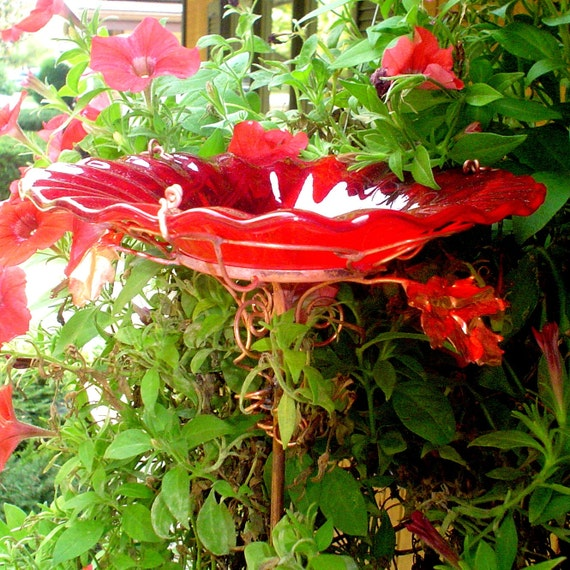 RESERVED FOR KEELY, Garden Bird Bath, Garden Decor, stained glass, Red, copper, Garden Art, outdoor home decor