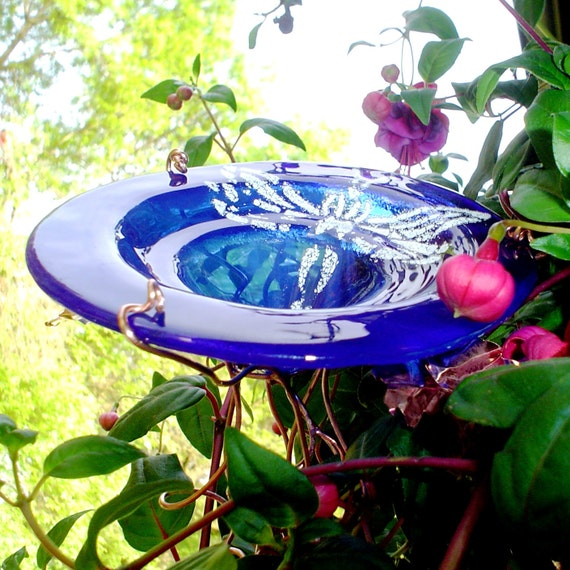 Dragonfly BUTTERFLY FEEDER, stained glass copper, Cobalt Blue, White