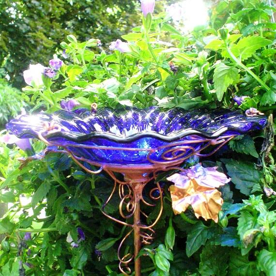 Cobalt Blue Glass BIRD BATH, copper, 18K Gold, Garden Decor, Suncatcher, Gardening