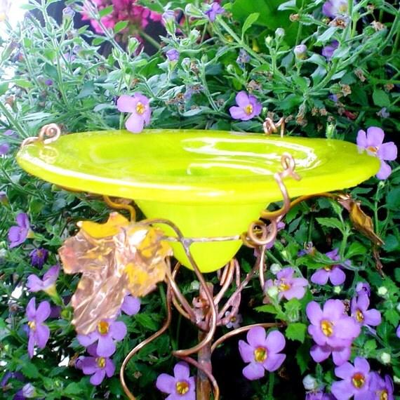 HOUSEWARMING Gift, Butterfly and Bird Feeder, stained glass, copper, Suncatcher, yellow, Garden Art