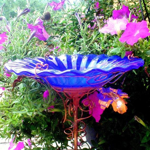 DAD Garden Gift, stained glass BIRD BATH, copper art, Cobalt Blue, Housewares, Outdoor, Garden Art