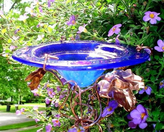 GET WELL gift, Bird Feeder, Butterfly Feeder, Garden Art, Outdoor, stained glass, copper, Cobalt Blue, 18K Gold