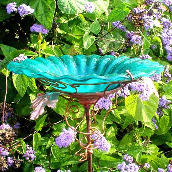 Copper Garden Art, stained glass, BIRDBATH, Teal Green, Home Decor, Bird Feeder