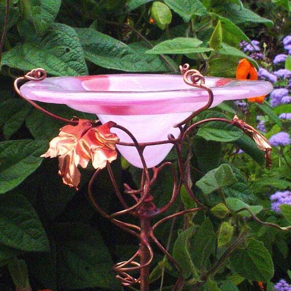 HEARTS Stained Glass BUTTERFLY FEEDER, Pink, Red, copper, suncatcher, Garden Birdfeeder