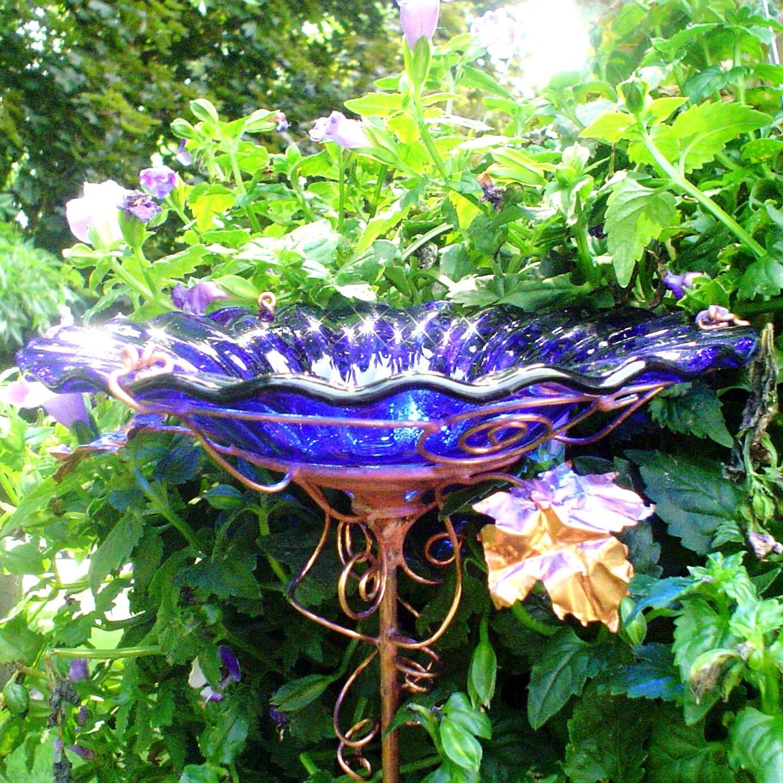Cobalt Blue Glass Bird Bath Copper 18k Gold Garden Decor