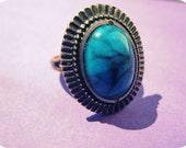 Vintage Turquoise Sunburst Ring - blue brass tribal bronze stone gem oval gift