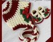 Crochet Patterns Holly Set. Includes patterns for Holly Earflap Beanie, and Baby Holly Shoes. digital