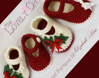 Christmas Crochet PATTERN Christmas for Baby Holly Shoes digital