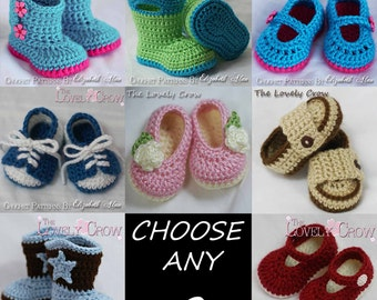 Toddler Crochet Patterns  CHOOSE ANY TWO patterns from The Lovely Crow