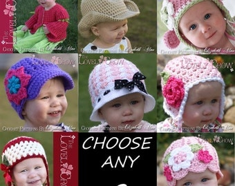 Baby  Crochet Patterns  CHOOSE ANY TWO patterns from The Lovely Crow