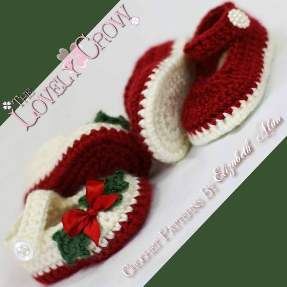 Christmas booties crochet pattern christmas for baby holly shoes