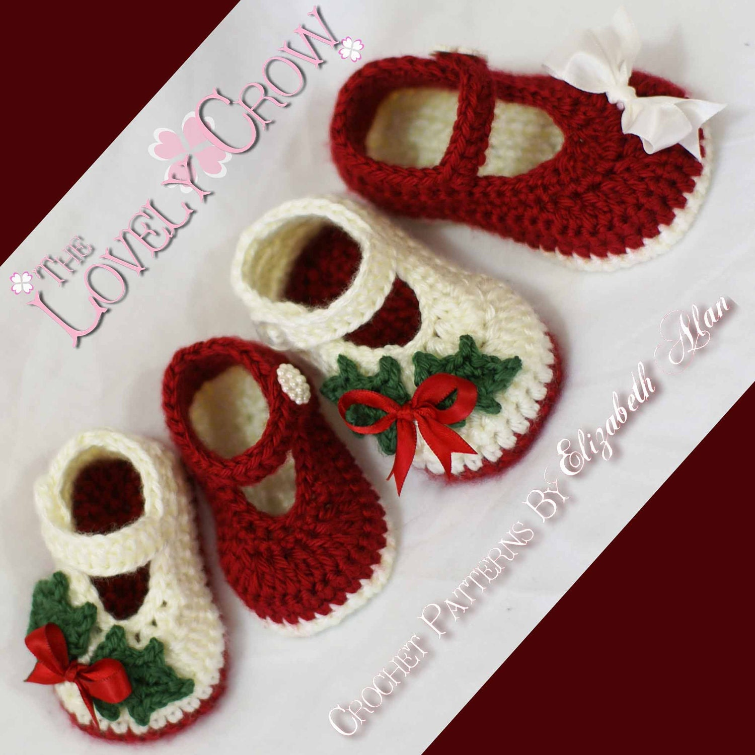 Crochet Patterns Xmas : Christmas Crochet PATTERN Christmas for Baby Holly Shoes by ...