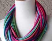 Color Burst Multicolor Mix T-Shirt Fabric Scarf, Circular, Eternity, Cowl, Handmade, Scarves