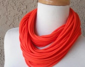 Orange Cotton Jersey Scarf, Circular, Cowl, Infinity, Handmade Scarf Necklace