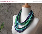 ON SALE Pretty Peacock Jersey T Shirt Fabric Scarf Necklace, Purple, Lime Green, Turquoise Blue