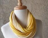 Deluxe Buttercream and Yellow Jersey Loop Scarf, Handmade, Circular, Infinity