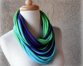 Pretty Peacock Jersey T Shirt Fabric Scarf Necklace, Purple, Lime Green, Turquoise Blue