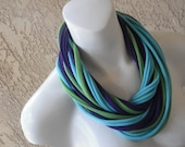 Pretty Peacock Jersey Tee Shirt Infinity Scarf Necklace, Purple, Turquoise Blue, Lime Green
