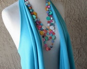 Turquoise Blue Cotton Jersey Vest, Tee Shirt, Summer Vest, Scarf, Women's Clothing by sandeeknits