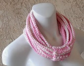 Pink Chained Crocheted Cowl Scarf Necklace - Handmade - Scarves - Circle Scarf