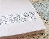 25 glassine favor bags with damask seals -- vintage french script