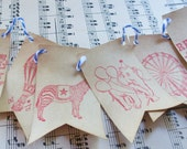 circus / carnival ..... banner / bunting ..... coffee stained