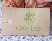 good luck  ..... st. patrick's day coffee stained gift tags..... set of 20