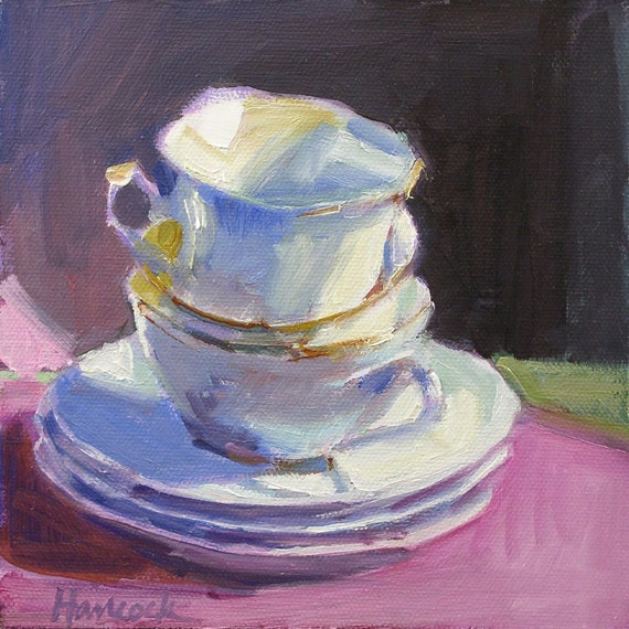 White and pink and blue and lavender cup stack