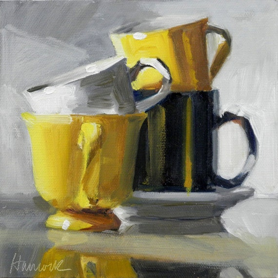Yellow Cup Stack on Glass