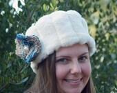 Hat - White Faux Mink Chapeau