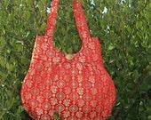 Satin Bag - Asian Red pattern