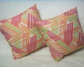 """21"""" X 21"""" Decorative throw pillows, set of 2.  Couch pillows.  Pink Throw Pillows.  Plaid pillows"""