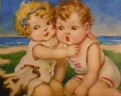 Reserved for Natalie:  Beach Babes, Vintage Card on Wood