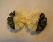 Yin & Yang Flowers Made of Fossil Walrus Ivory for Jewelry Making, Earrings or Pendants