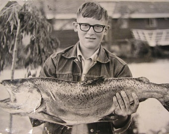 "Boy and Big Fish Bursting with Pride Vintage Photograph, 5 x 7"" Original Photo"