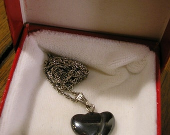 Vintage Hematite Hearts Pendant Necklace