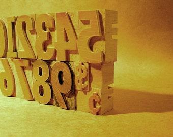 Vintage Letterpress Woodblock Numbers, Rare/Complete Set