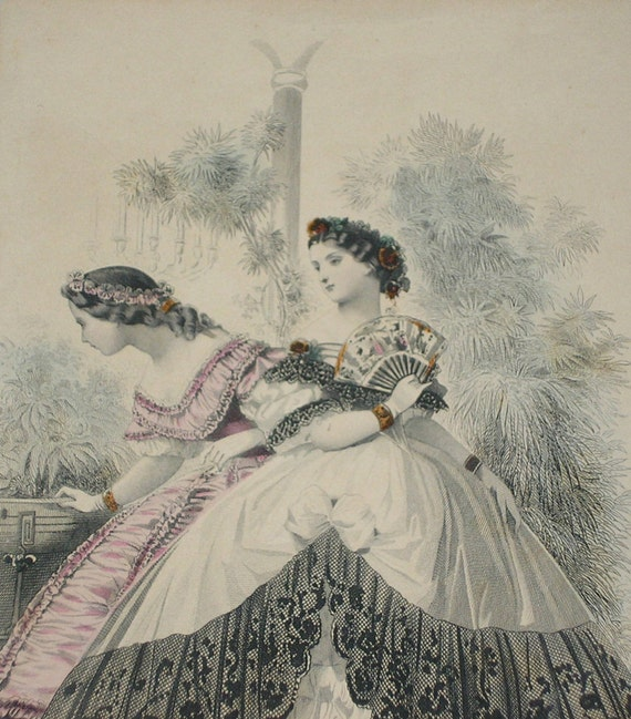 In the garden.  Original 1862 Les Modes Parisiennes French Dress Fashion Illustration
