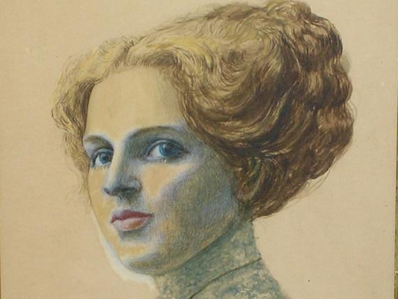 The Woman with the Hair, Antique Original Portrait Art Work