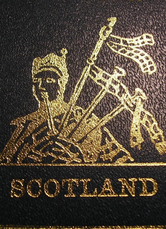 Scotland, Lovely Gold Embossed Black Leather Vintage Bookmark