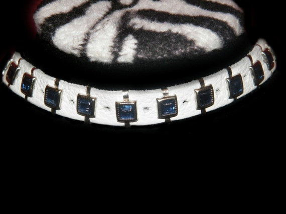 "Something ""New & Blue"" White Leather Choker With Blue Gems Christmas Xmas New Year Holiday Birthday Party Tech Scene Punk Rave"