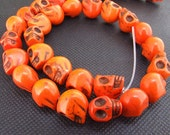 12mm gemstones Loose orange turquoise skull beads stone FULL STRAND 16""