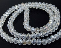 """6mm faceted AB clear glass beads,Loose 90beads-- FULL STRAND 17""""  gemstone beads"""