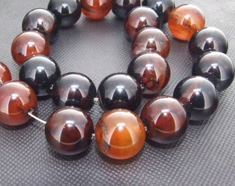 Strands 20mm Lucky Shiny Brown multicolor Agate Loose One strand 15""